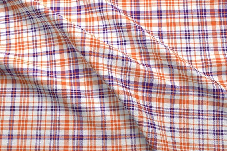 268d8f7eaa4 Plaid Fabric Orange And Purple Plaid Tigers By | Etsy