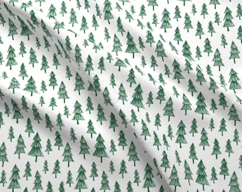 Tree Pattern Fabric - Sketchy Green Tree Pattern By Swoldham - Different Sizes Drawn Woods Forest Cotton Fabric By The Yard With Spoonflower