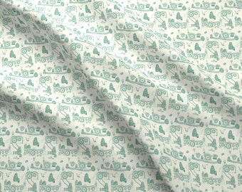 Halflings Fabric - Green Fantasy Toile By Spikymammal - Halflings Fantasy Fictional Green Toile Cotton Fabric By The Yard With Spoonflower