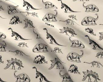 Dinosaur Skeleton Fabric - Museum Animals, Dinosaur Skeletons, Black And Cream By Bohobear - Dino Cotton Fabric By The Yard With Spoonflower