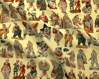 Vintage Clowns Fabric - Vintage Circus Clowns On Cream Background By Olivemlou - Vintage Clowns Cotton Fabric By The Yard With Spoonflower