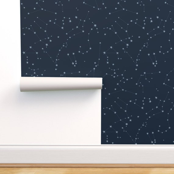 Zodiac Wallpaper Astrology Constellations By Eleventy Five Stars Custom Printed Removable Self Adhesive Wallpaper Roll By Spoonflower