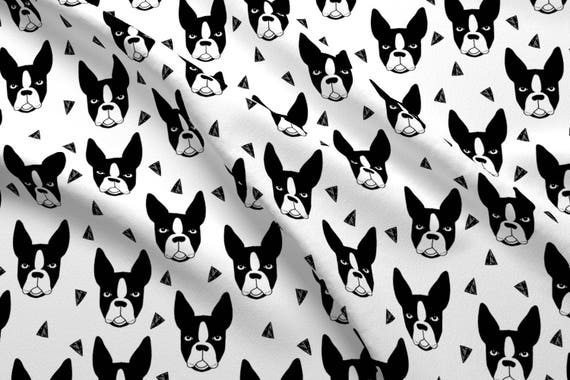 Boston Terriers Fabric Boston Terrier Black And White  2da747b89