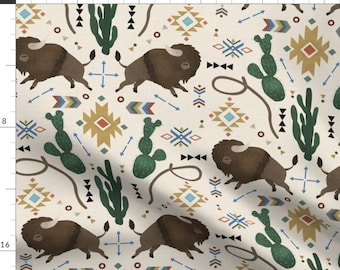 Midwest Fabric - Southwest Dreamer By Digital Boheme - Midwest Bison Buffalo Beige Blue Ranch Cotton Fabric By The Yard With Spoonflower