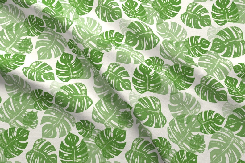 35668076 Green Monstera Leaves Fabric Linocut Monstera By Biancagreen | Etsy