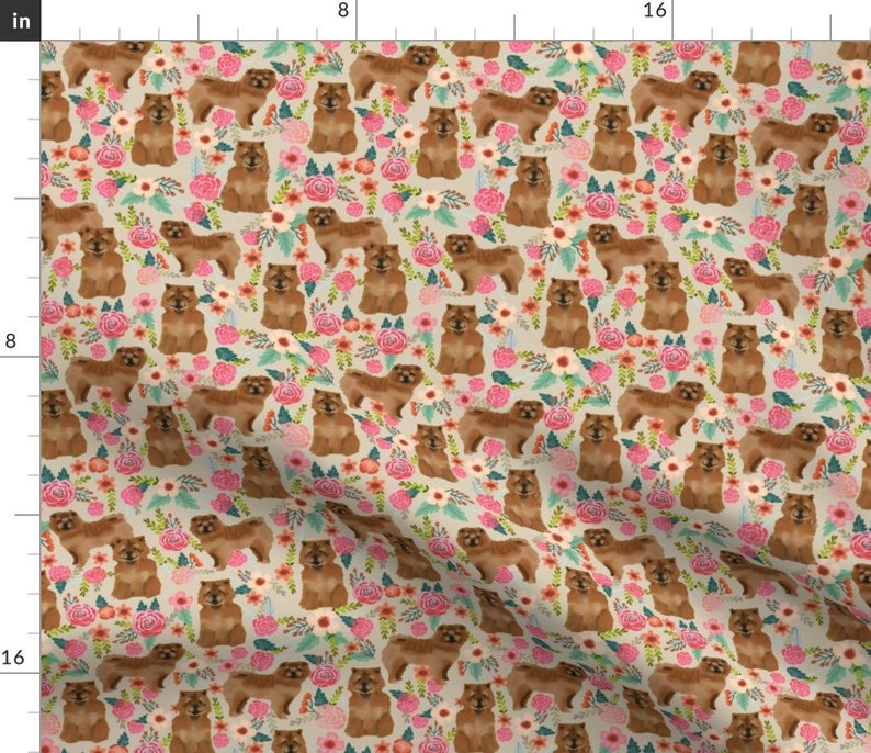 Chow Dog Fabric  Chow Chow Florals Dog Sand By Petfriendly  image 0