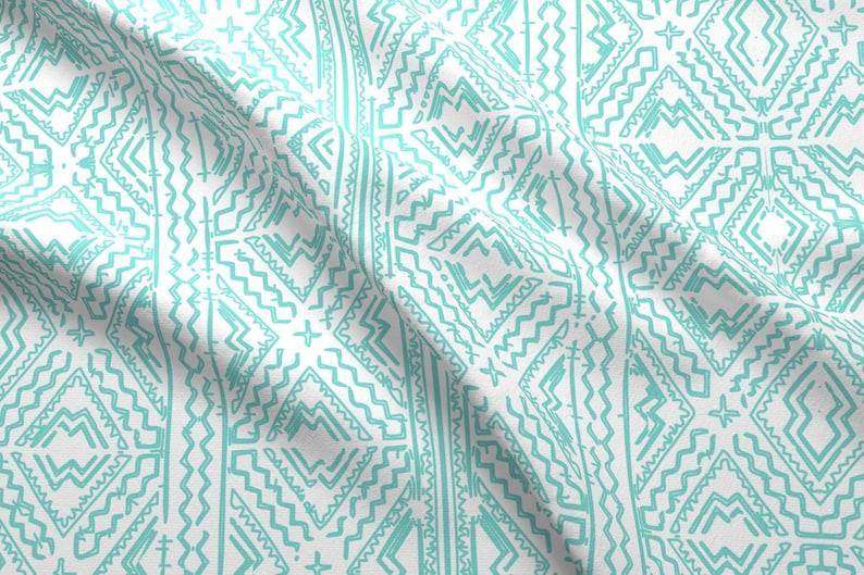 Aztec Mud Cloth Fabric Mud Cloth In Light Turquoise Aqua On Etsy