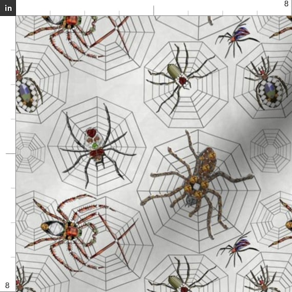 Fabric Halloween Spiders Sophisticated on White Cotton by the 1//4 yard