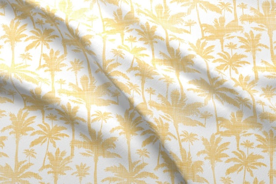 yellow palm tree fabric palm trees golden textile seamless etsy