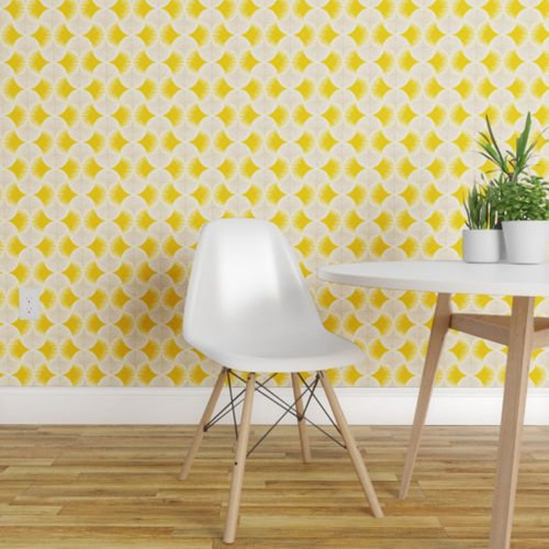 Yellow By Innamoreva Yellow Custom Printed Removable Self Adhesive Wallpaper Roll by Spoonflower Tropical Geometry Tropics Wallpaper