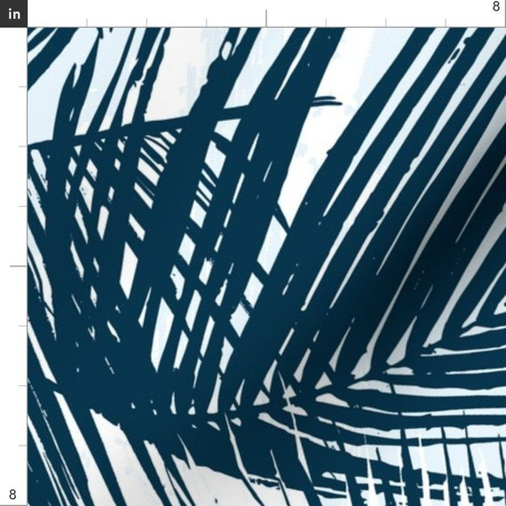 Blue and White Tropical Palm Leaves Fabric Blue Palm By Fable Design Palm Leaves Beach Decor Cotton Fabric By The Yard With Spoonflower