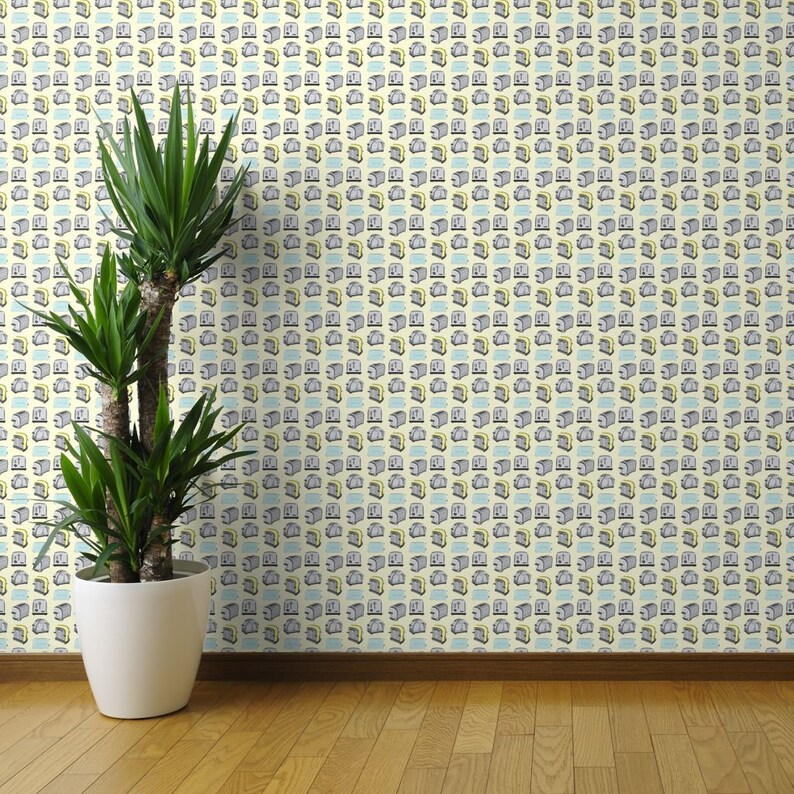 Toast Yellow Blue Gray By Misschiffdesigns Retro Toaster Wallpaper Custom Printed Removable Self Adhesive Wallpaper Roll by Spoonflower