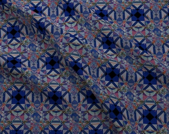 Mosaic Fabric - Moroccan Blue Tiles Abstract Geometric Kaleidoscope Colorful By Arrpdesign - Cotton Fabric By The Yard With Spoonflower