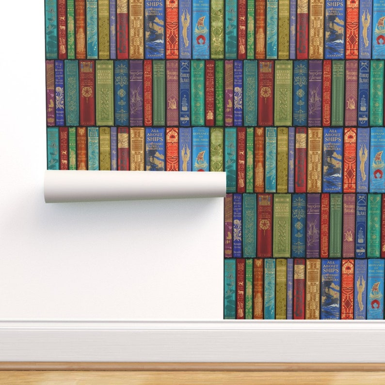 Books Wallpaper  Bright By Peacoquettedesigns  Red Blue image 0