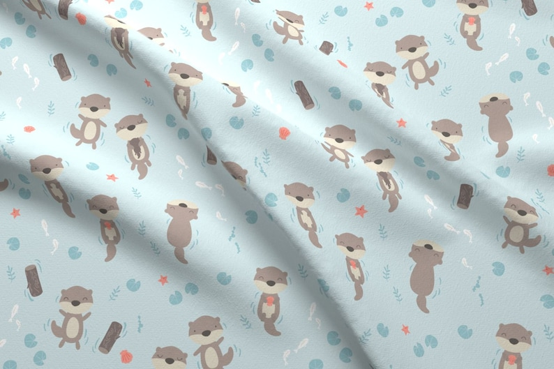 3b82cb9bb Swimming Otter Fabric Cute Otters In The Water Blue By Ewa   Etsy