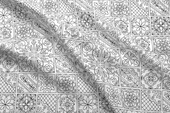 Hand Drawn Tile Fabric Talavera Tiles By Snowflower Black - Black and white talavera tile