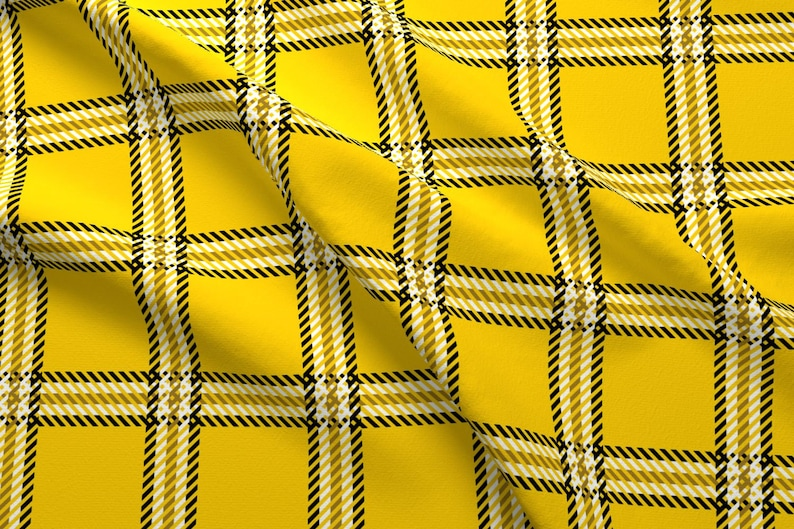 1c629aec522de 90s Yellow Plaid Fabric - Cher's Plaid By Elliottdesignfactory- Retro 1990s  Costume Cosplay Plaid Cotton Fabric By The Yard With Spoonflower
