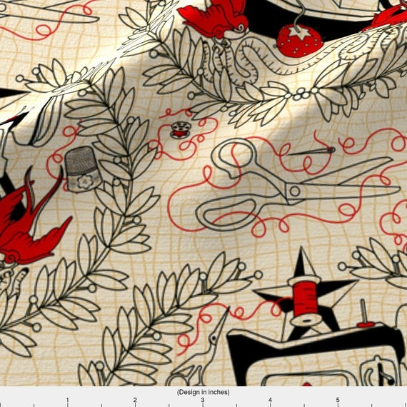 Sewing Machine Tattoo Fabric Reap What You Sew Red Thread Etsy
