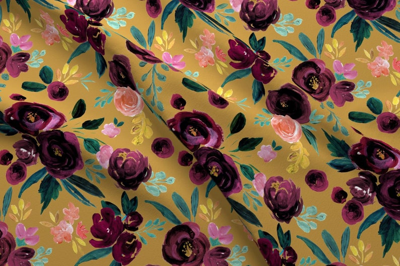 5125197e9799 Plum Floral Fabric Valentina Plum Rose On Gold By Crystal