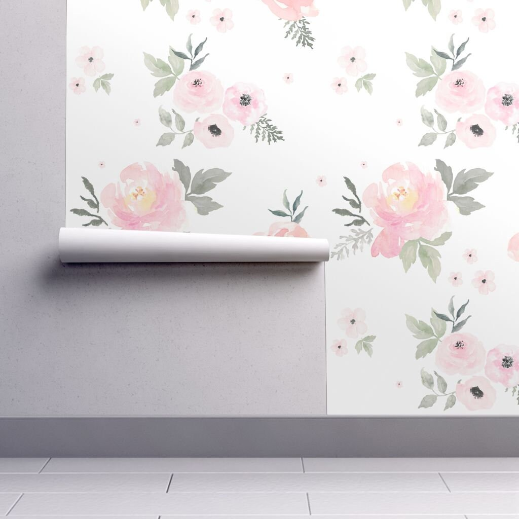 1 Sample Floral Nursery Wallpaper Swatch Sweet Blush Roses Etsy