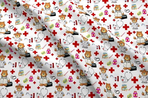 Medical Bears Fabric Nursing Scrubs By Bluevelvet Doctor ...