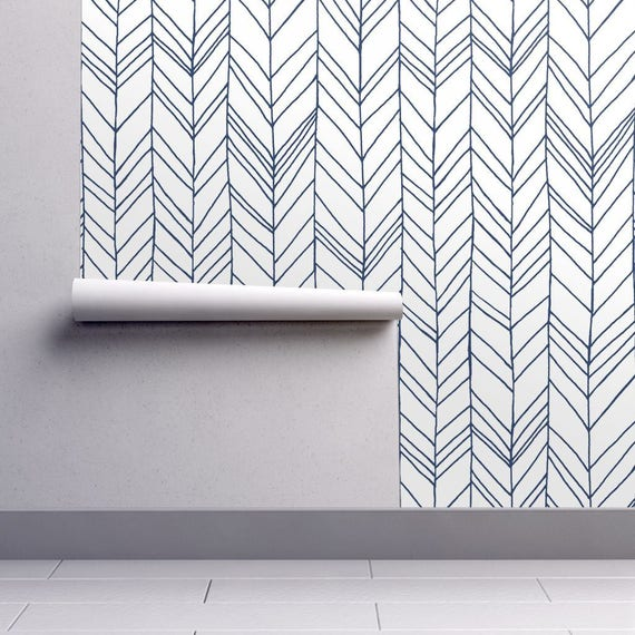 Chevron Wallpaper Featherland White Navy Large By Leanne
