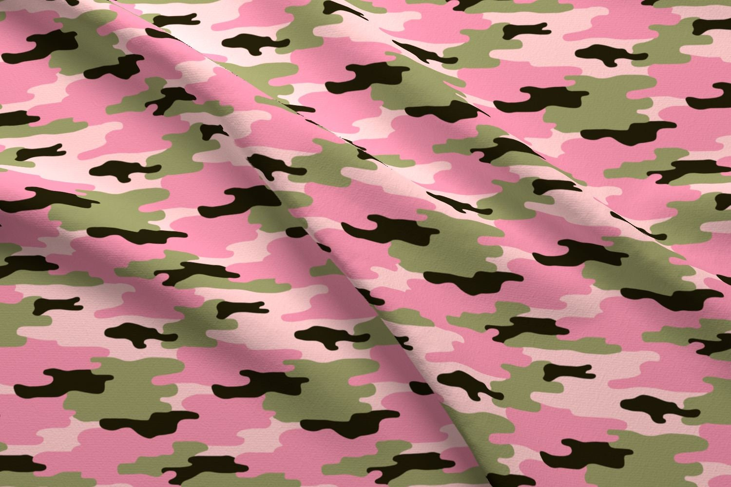 Pink Camouflage Fabric Sweet Pink Camo By Twix Pink Green | Etsy