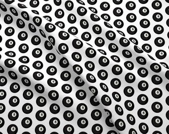 Eight Ball Fabric - Eight Ball By Thin Line Textiles - Eight Ball Pool Billiards Black and White Cotton Fabric By The Yard With Spoonflower