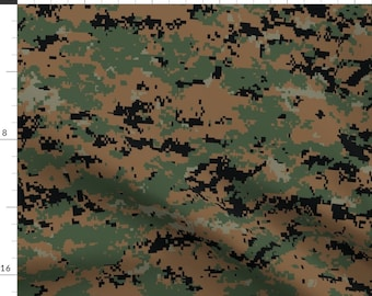 Camouflage Fabric - Digital Woodland Camo By Ricraynor - Hunting Camo Green Brown Boy Nursery Cotton Fabric By The Yard With Spoonflower