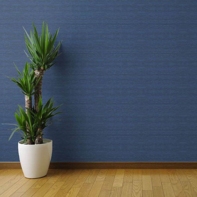 Faux Grasscloth in Navy by Willow Lane Textiles Blue Texture Wallpaper Custom Removable Self Adhesive Wallpaper Roll by Spoonflower