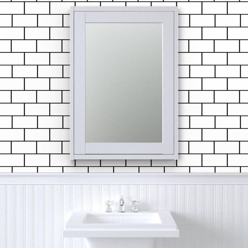 Subway Tiles Wallpaper Subway Tile Neat Black White By Lub ...