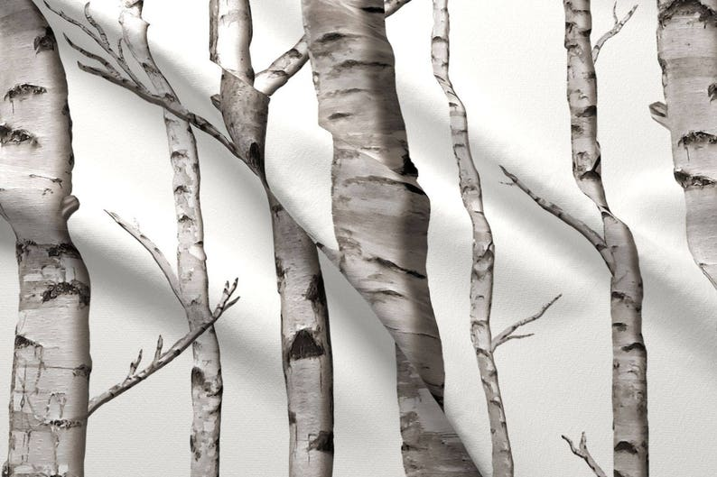 Spoonflower Birch Fabric Chiffon for Sewing Fashion Apparel Dresses Home Decor Pale Nature Birch Bark Tree Bark Woodland Photograph Print on Fabric by The Yard