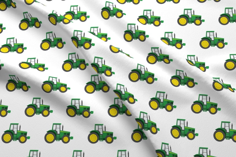 Farm Tractor Fabric - Green Tractors - Farming By Littlearrowdesign - Farm  Equipment Country Crop Cotton Fabric By The Yard With Spoonflower