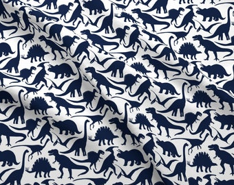Dinosaur Fabric - Little Dinosaur Friends Indigo By Jillbyers - Navy and White Dinosaur Cotton Fabric By The Yard With Spoonflower