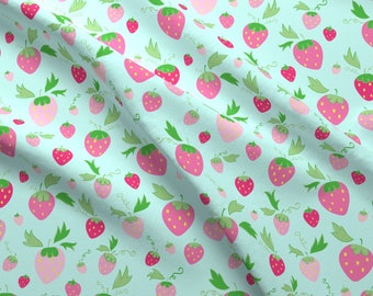 Strawberry Fabric - Strawberries On Mint By Sugarcookie - Strawberry Cute Fruit Blue Pink Green Cotton Fabric By The Yard With Spoonflower