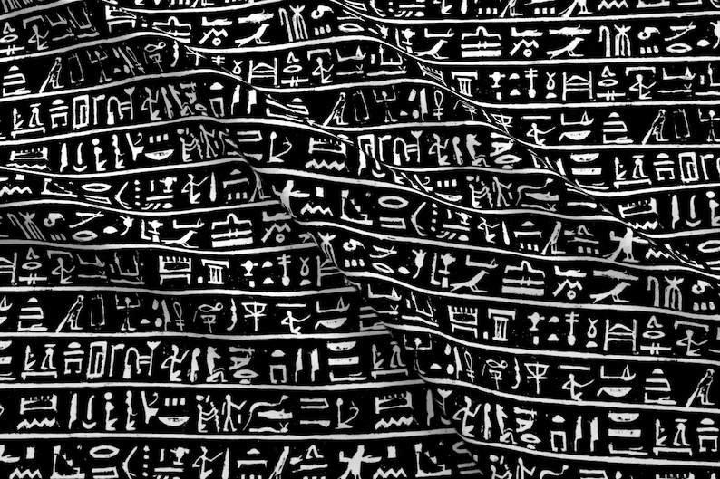 Ancient Egypt Fabric - Egyptian Hieroglyphics On Black - Small By Thin Line  Textiles - Symbols Cotton Fabric by the Yard With Spoonflower