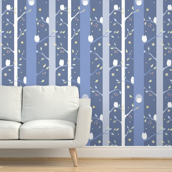 By Elena Naylor Owls Wallpaper Owl Forest Night Gender Neutral Custom Printed Removable Self Adhesive Wallpaper Roll by Spoonflower