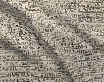 Ancient Hieroglyphics Fabric - Hieroglyph Umber Brown Stripes By Wren Leyland - Old Vintage Egypt Cotton Fabric By The Yard With Spoonflower