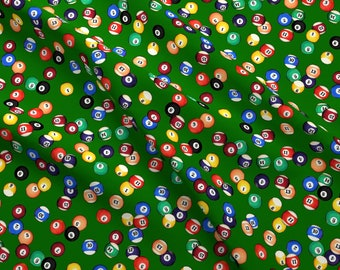 Billiards Fabric - Billiards Balls On Felt // Small By Thinlinetextiles - Billiards Pool Balls Cotton Fabric By The Yard With Spoonflower