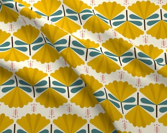 Floral Fabric - Carnation Yellow Teal By Lemonni - Floral Retro Mod Vintage Style Cotton Fabric By The Yard With Spoonflower