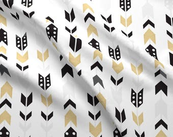 Black + Gold Arrow Fabric - Black Gold -01 By Graceandcruzdesigns - Hipster Baby Nursery Decor Cotton Fabric By The Yard With Spoonflower