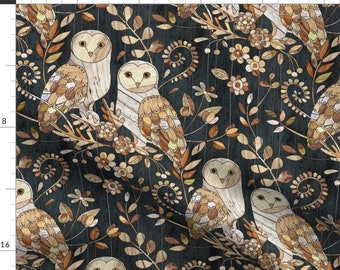 Barn Owl Fabric - Wooden Wonderland Barn Owl Collage - Large By Micklyn - Barn Owl Wooden Texture Cotton Fabric By The Yard With Spoonflower