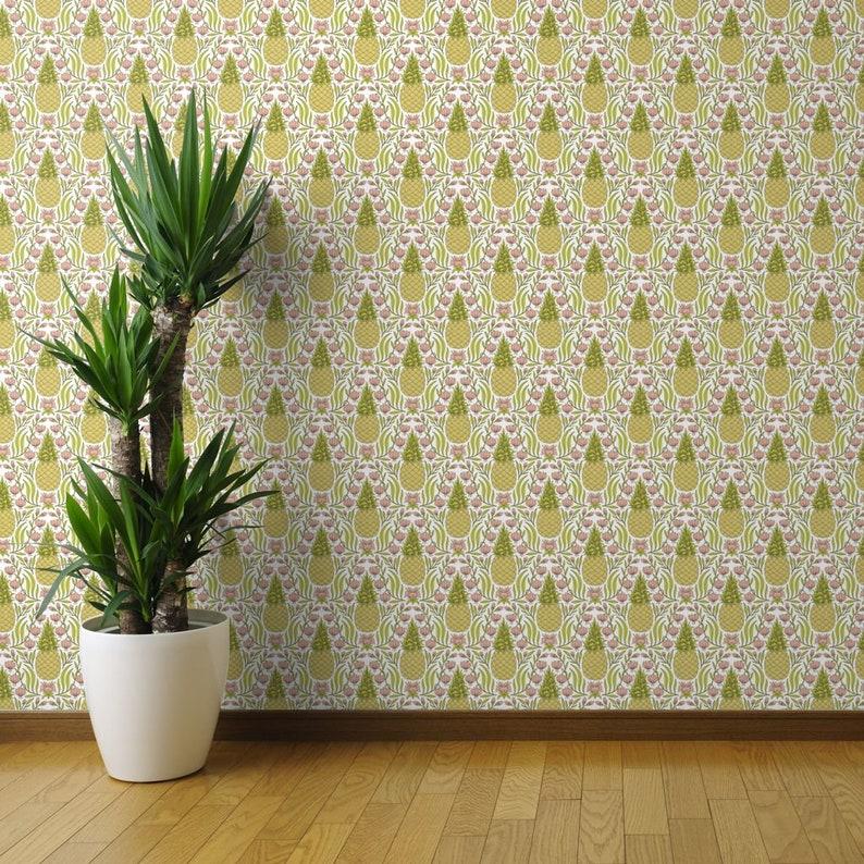 Pineapple Custom Printed Removable Self Adhesive Wallpaper Roll by Spoonflower Pineapple Flower By Andie Hanna Pineapple Wallpaper