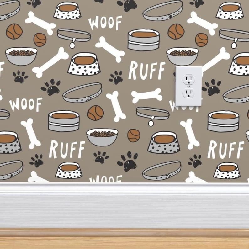 Dog Wallpaper Dog Bone Bowl Paw Print By Andrea Lauren | Etsy