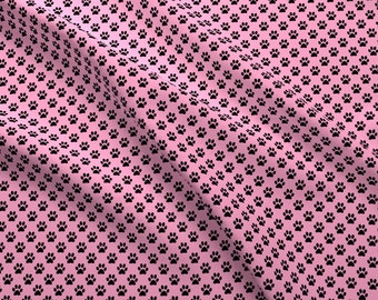 Pink Fabric - Half Inch Black Paw Prints On Carnation Pink By Mtothefifthpower Mini Tiny Dog Cat- Cotton Fabric By The Yard With Spoonflower