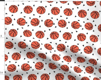 Basketball Fabric - Sports Basketball Themed Fabric - White By Andrea Lauren - Cotton Basketball Fabric by the Yard With Spoonflower