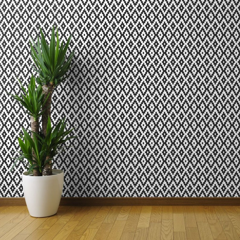 Modern Kilim Wallpaper Kilim By Gomboc Black and White Large Scale Custom Printed Removable Self Adhesive Wallpaper Roll by Spoonflower