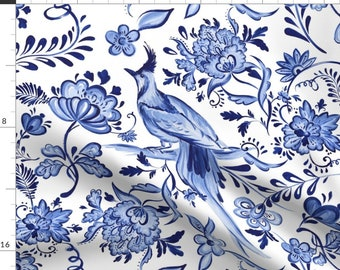 Blue Floral Illustration Pysanky Fabric - Porcelain Pysanky By Dorinus Illustrations - Pysanky Cotton Fabric By The Yard With Spoonflower