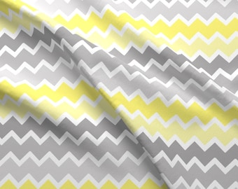 Gray Chevron Fabric - Yellow Grey Gray Ombre Chevron Zigzag By Decamp Studios - Gray Chevron Cotton Fabric By The Yard With Spoonflower