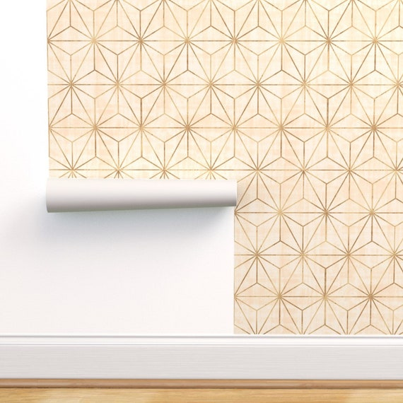 Removable Water-Activated Wallpaper Geometric Geo Retro Vintage Grey Square